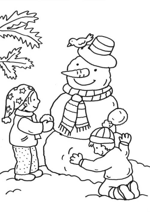 Kostenlose Malvorlage Schneemänner Kinder Bauen Schneemann Zum Ausmalen
