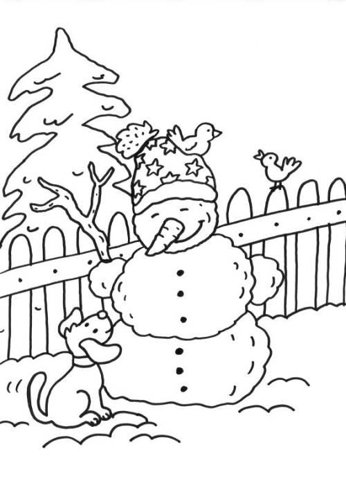 Kostenlose Malvorlage Schneemänner: Schneemann und Hund ausmalen zum ...