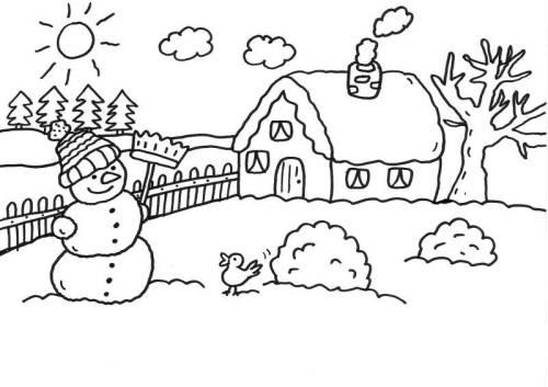Kostenlose Malvorlage Schneemänner Schneemann Vor Dem Haus Ausmalen