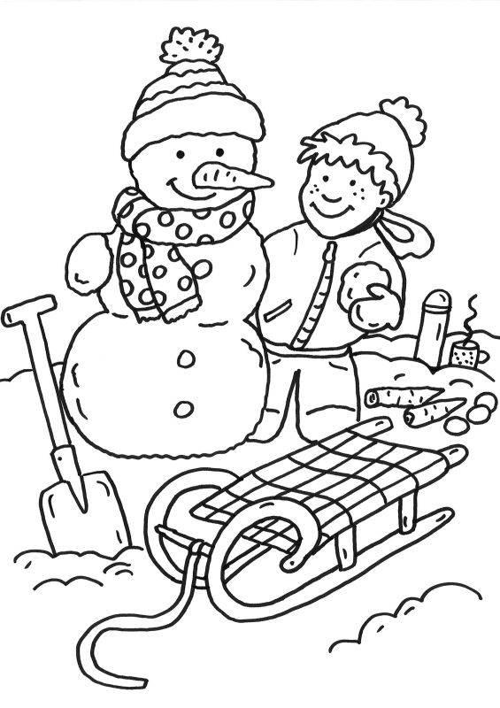 Ausmalbild Schneemänner Junge Baut Schneemann Kostenlos