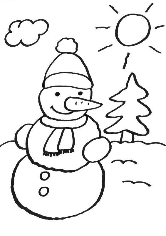 Ausmalbild Schneemänner: Schneemann ausmalen kostenlos ausdrucken