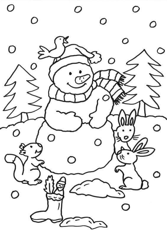 ausmalbild schneemänner: schneemann und waldtiere ausmalen