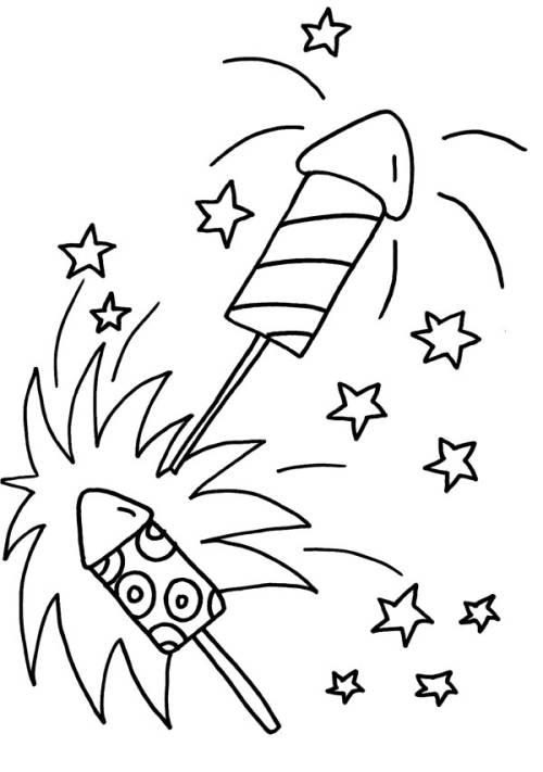 Kostenlose Malvorlage Silvester Silvester Raketen Zum Ausmalen