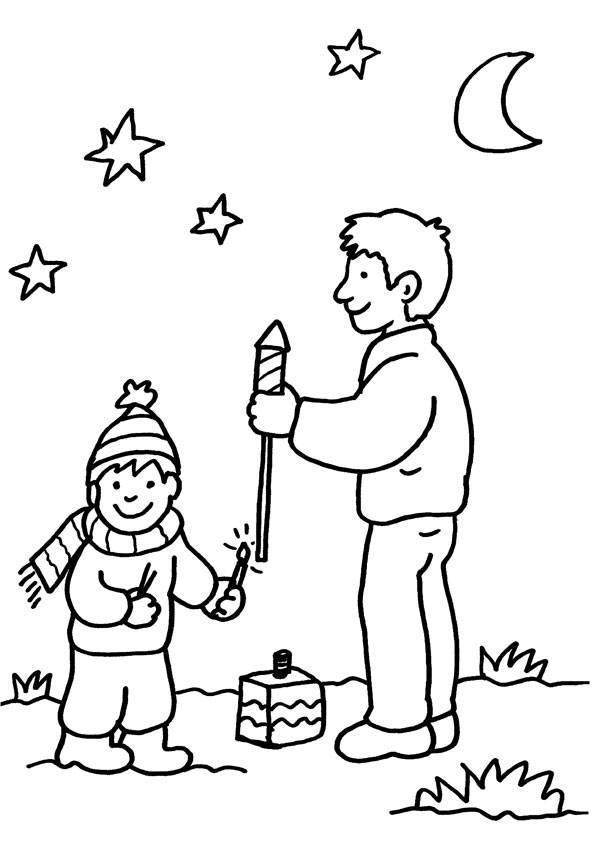 Ausmalbild Silvester Vater Und Sohn Beim Feuerwerk Kostenlos Ausdrucken