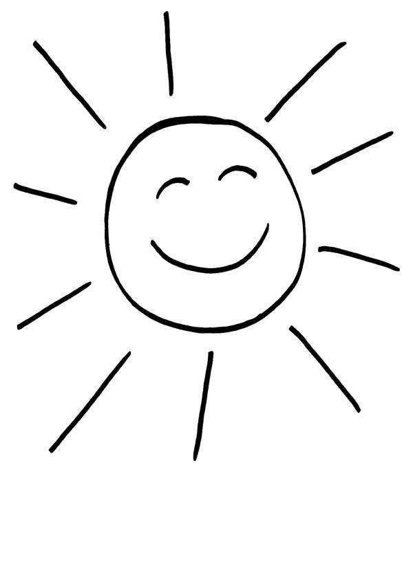 Ausmalbild Sonne: Lachende Sonne kostenlos ausdrucken