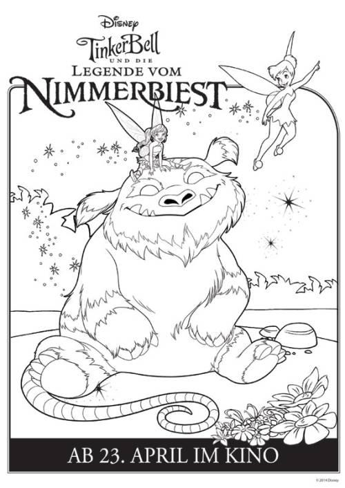 Kostenlose Malvorlage Tinkerbell: Nimmerbiest ausmalen zum ...