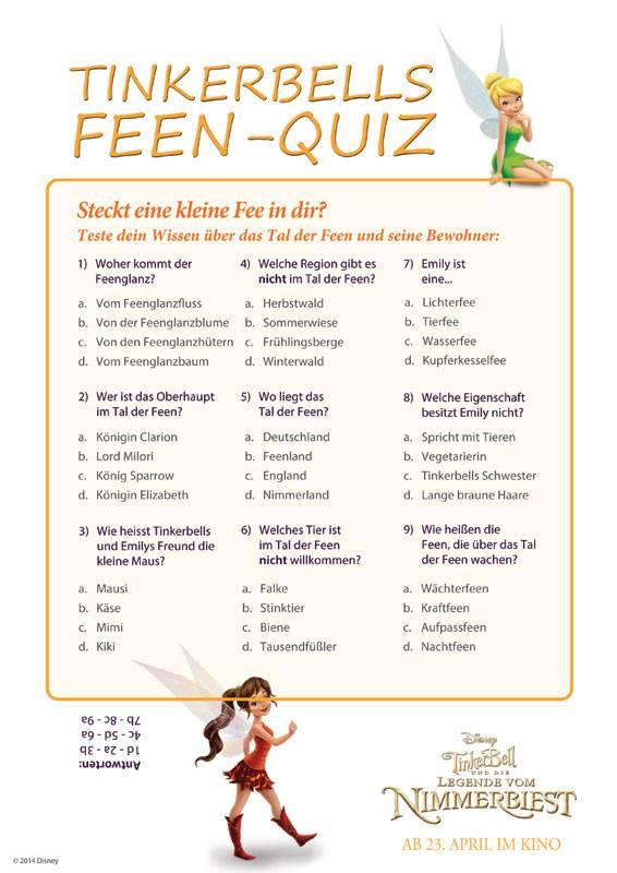 Ausmalbild Quiz zur Allgemeinbildung: Tinkerbells Feen ...