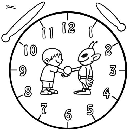 Kostenlose Malvorlage Uhrzeit lernen: Ausmalbild Alien zum Ausmalen