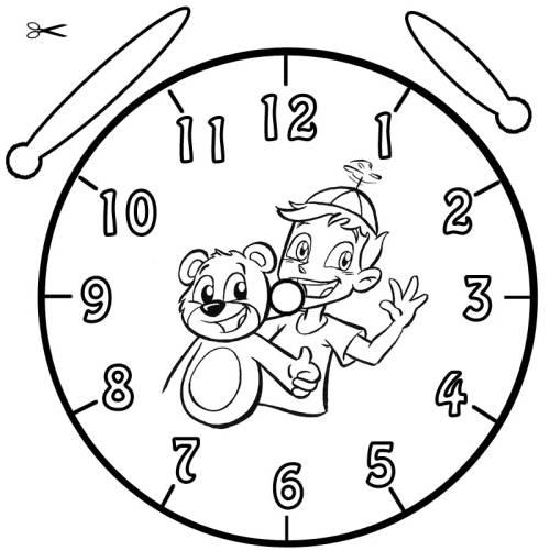 Kostenlose Malvorlage Uhrzeit Lernen Ausmalbild Benni Und Teddy Zum