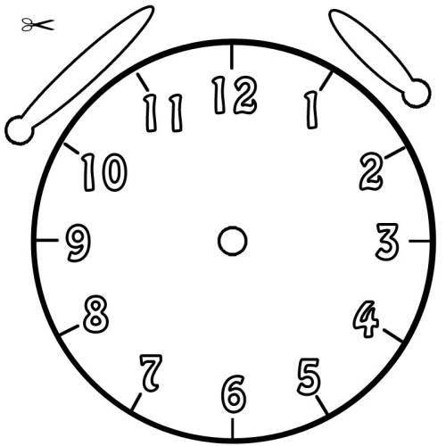 Uhrzeiger vorlage  Kostenlose Malvorlage Uhrzeit lernen: Ausmalbild Uhr zum Ausmalen
