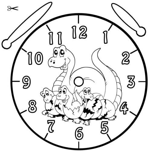 Kostenlose Malvorlage Uhrzeit lernen Ausmalbild Dinos zum Ausmalen