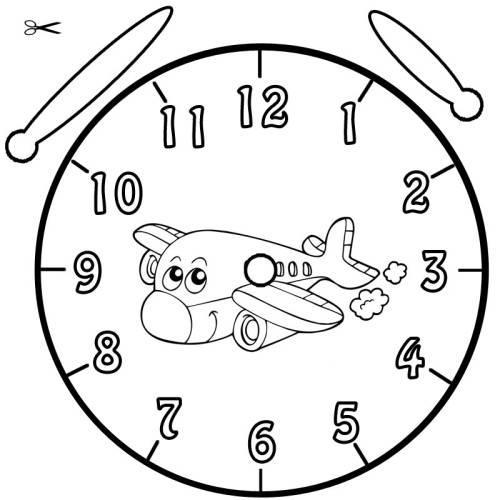 Kostenlose Malvorlage Uhrzeit Lernen Ausmalbild Flugzeug Zum Ausmalen