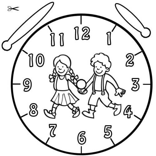 Kostenlose Malvorlage Uhrzeit lernen: Ausmalbild Hänsel und Gretel ...