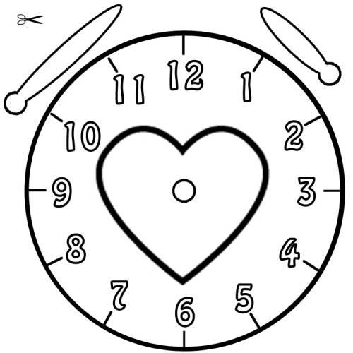 Uhr  Kostenlose Malvorlage Uhrzeit lernen: Ausmalbild Herz zum Ausmalen