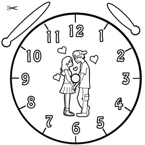 Kostenlose Malvorlage Uhrzeit Lernen Ausmalbild Liebespaar