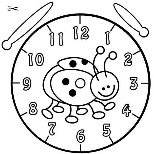Kostenlose Malvorlage Uhrzeit Lernen Ausmalbild Marienkäfer Zum