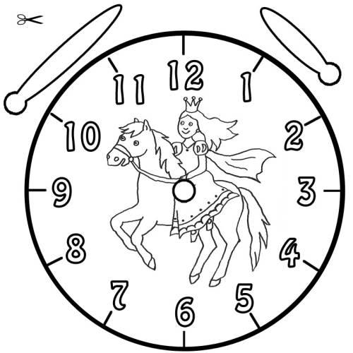 Kostenlose Malvorlage Uhrzeit lernen: Ausmalbild Prinzessin und