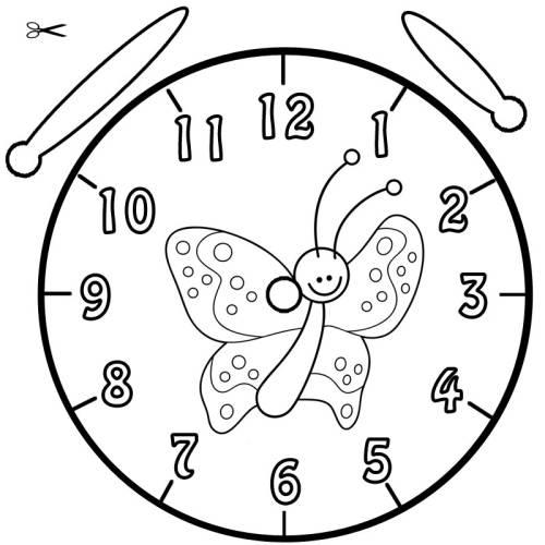Kostenlose Malvorlage Uhrzeit lernen: Ausmalbild Schmetterling zum ...