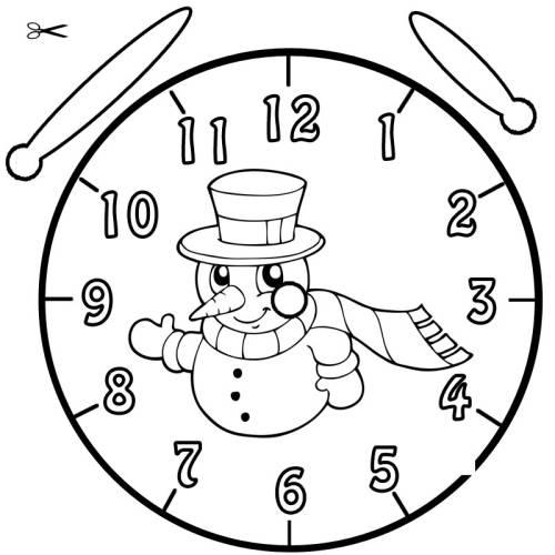 Kostenlose Malvorlage Uhrzeit lernen: Ausmalbild Schneemann zum Ausmalen