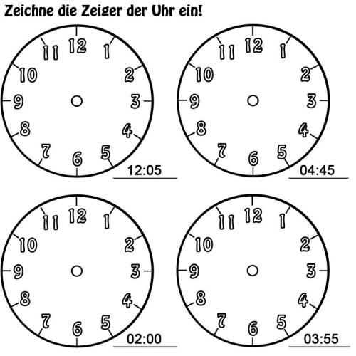 Uhrzeiger vorlage  Kostenlose Malvorlage Uhrzeit lernen: Arbeitsblatt Nr. 12 zum Ausmalen