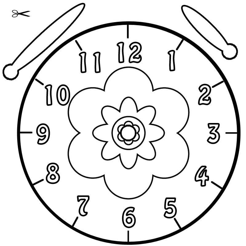 Ziffernblatt druckvorlage  Kostenlose Ausmalbilder und Malvorlagen: Uhrzeit lernen zum ...