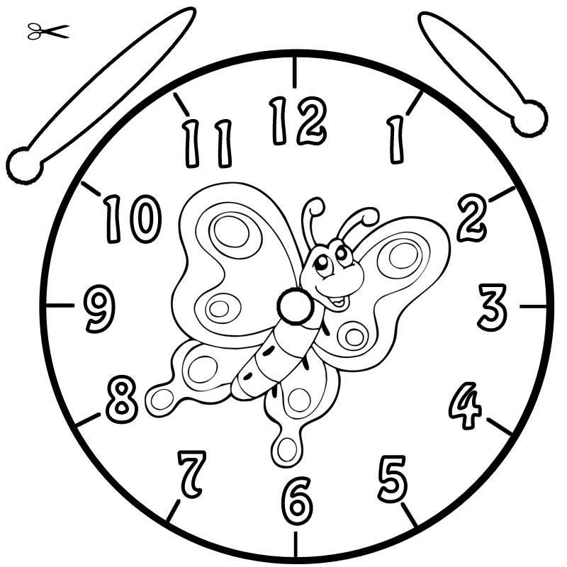 Kostenlose Malvorlage Uhrzeit Lernen Ausmalbild Falter Zum Ausmalen