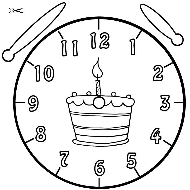 Kostenlose Malvorlage Uhrzeit lernen: Ausmalbild Geburtstagstorte ...