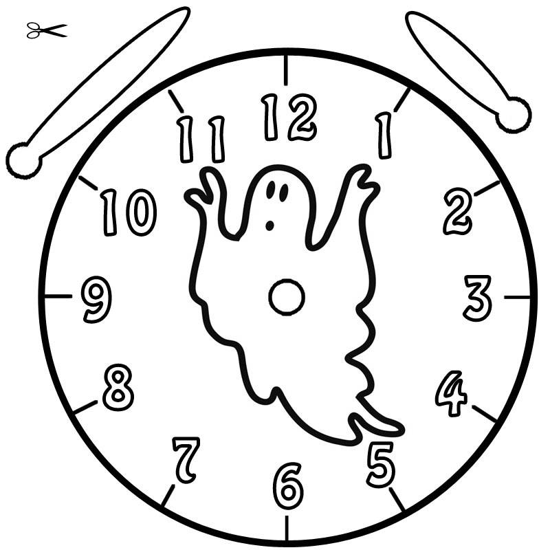 Kostenlose Malvorlage Uhrzeit lernen: Ausmalbild Halloween-Geist zum ...
