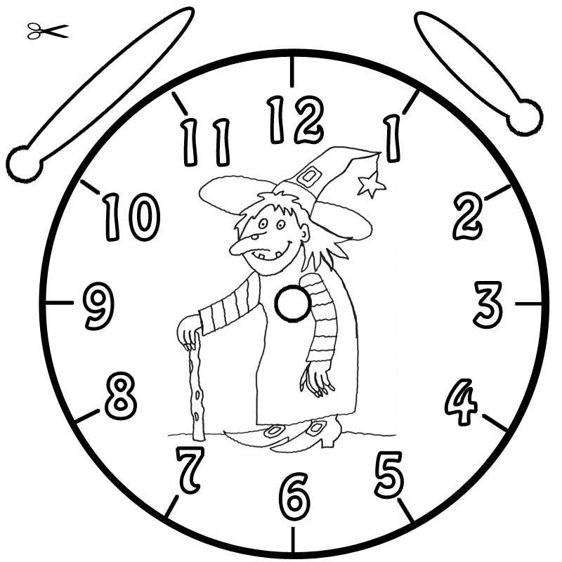 Kostenlose Malvorlage Uhrzeit lernen: Ausmalbild Halloween-Hexe zum ...
