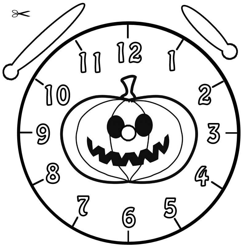 ausmalbild uhrzeit lernen ausmalbild halloweenkürbis