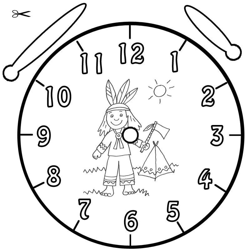 Ausmalbild Uhrzeit lernen Ausmalbild Indianer kostenlos ausdrucken