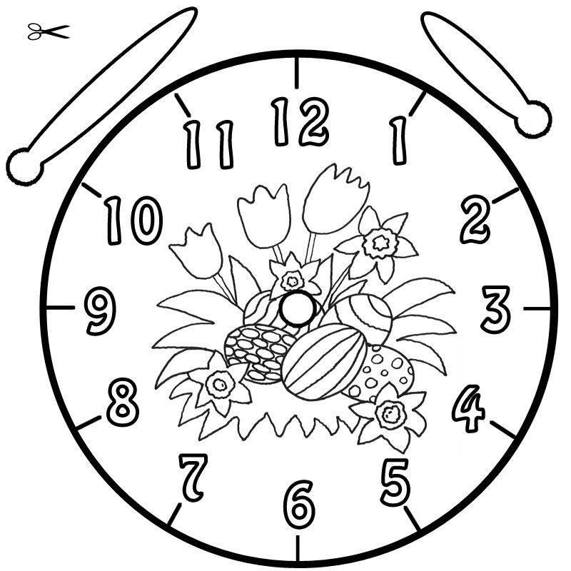 Ausmalbild Uhrzeit lernen: Ausmalbild Ostereier kostenlos ausdrucken