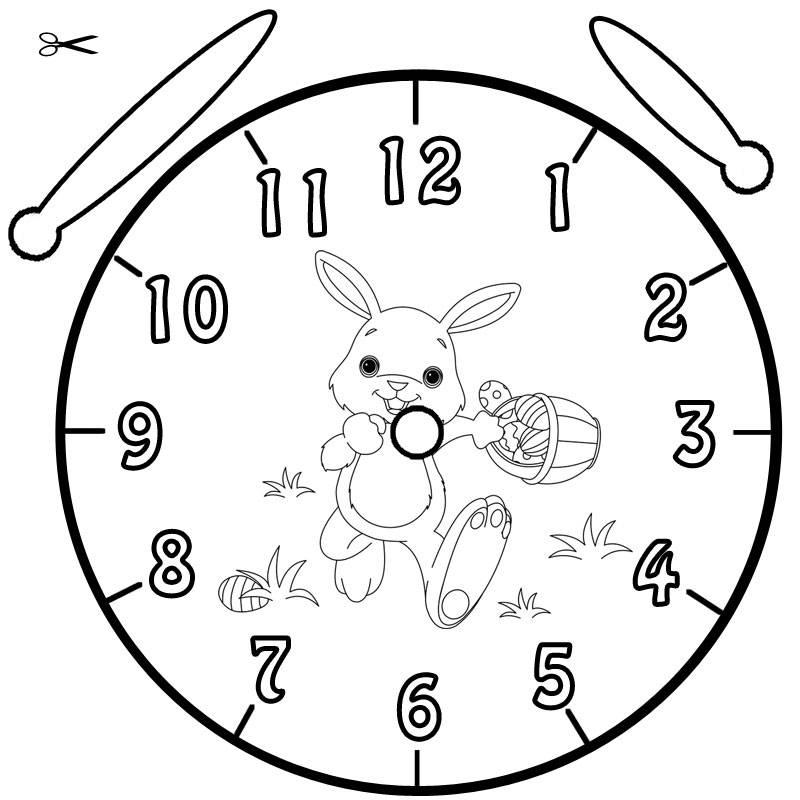 Uhrzeit Lernen Die Uhr Ausmalbild Ostern Kostenlos Ausdrucken