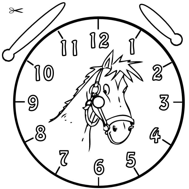 Kostenlose Malvorlage Uhrzeit lernen: Ausmalbild Pferdchen zum Ausmalen