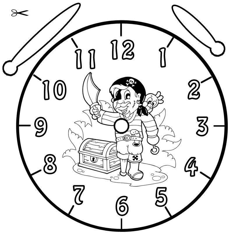 Kostenlose Malvorlage Uhrzeit lernen: Ausmalbild Pirat zum Ausmalen
