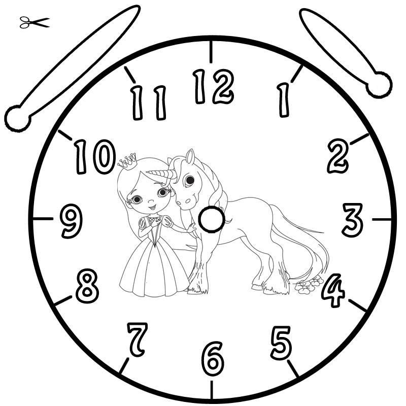 Ausmalbild Uhrzeit Lernen Ausmalbild Prinzessin Und Einhorn