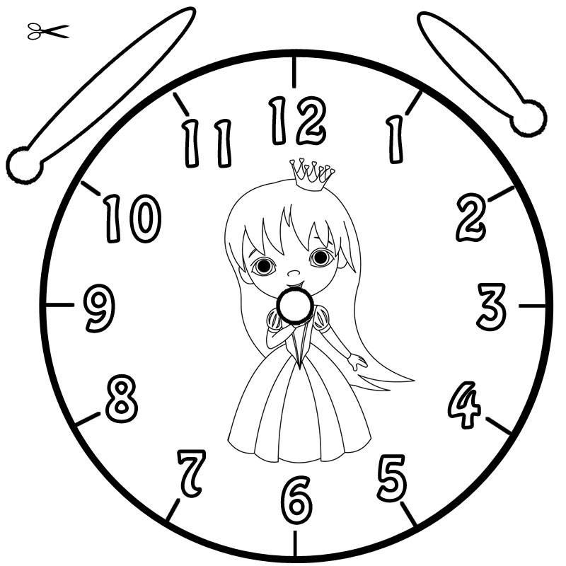 Ausmalbild Uhrzeit Lernen Ausmalbild Prinzessin Kostenlos Ausdrucken