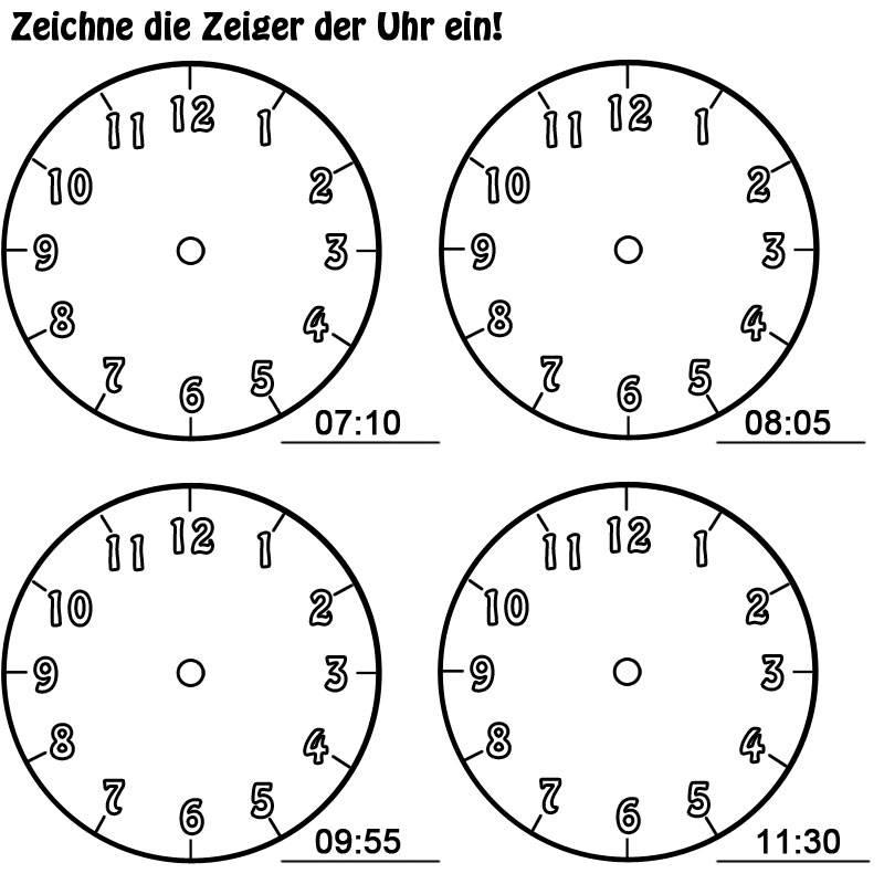 Kostenlose Malvorlage Uhrzeit lernen: Arbeitsblatt Nr. 10 zum Ausmalen