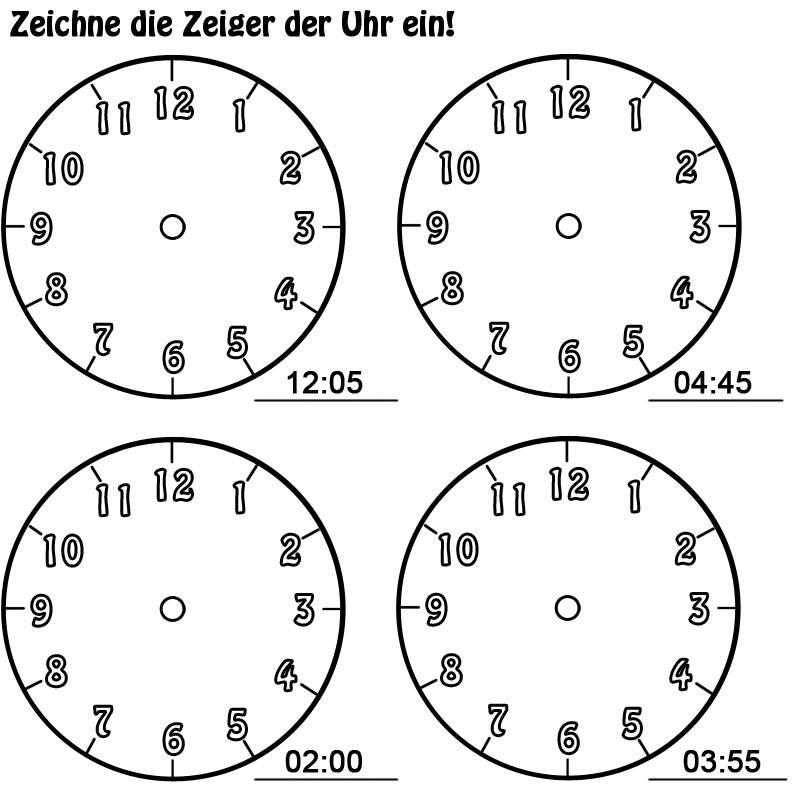 Uhrzeiger vorlage  Ausmalbild Uhrzeit lernen: Arbeitsblatt Nr. 12 kostenlos ausdrucken