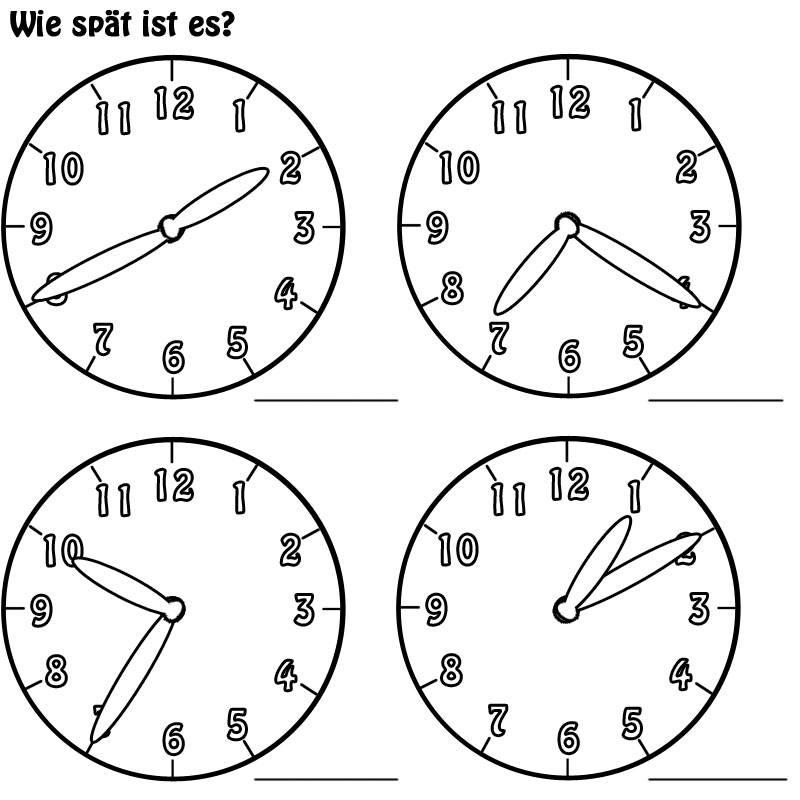 Ausmalbild Uhrzeit lernen: Arbeitsblatt Nr. 5 kostenlos ausdrucken