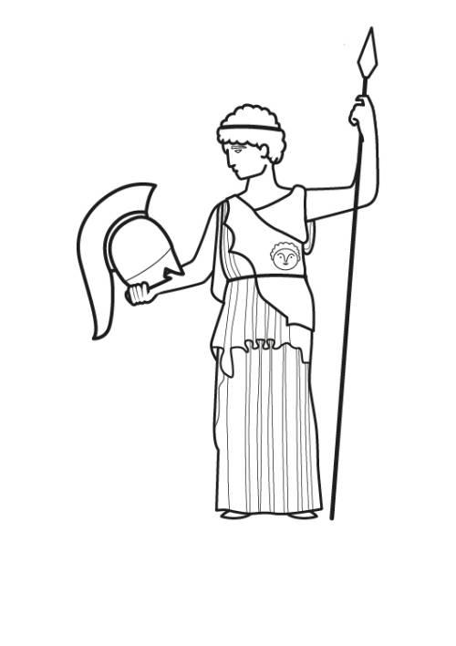 Kostenlose Malvorlage Urlaub und Reisen: Göttin Athena ausmalen zum ...