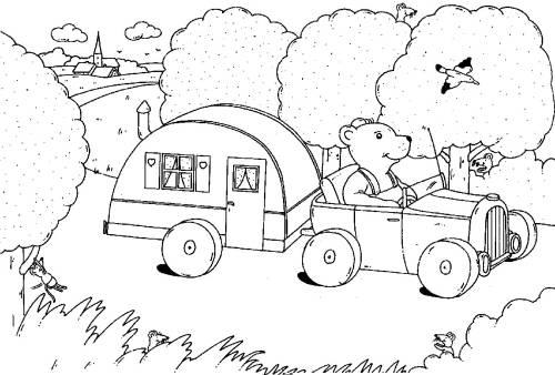 Urlaub malvorlage  Kostenlose Malvorlage Urlaub und Reisen: Bär im Wohnwagen zum Ausmalen
