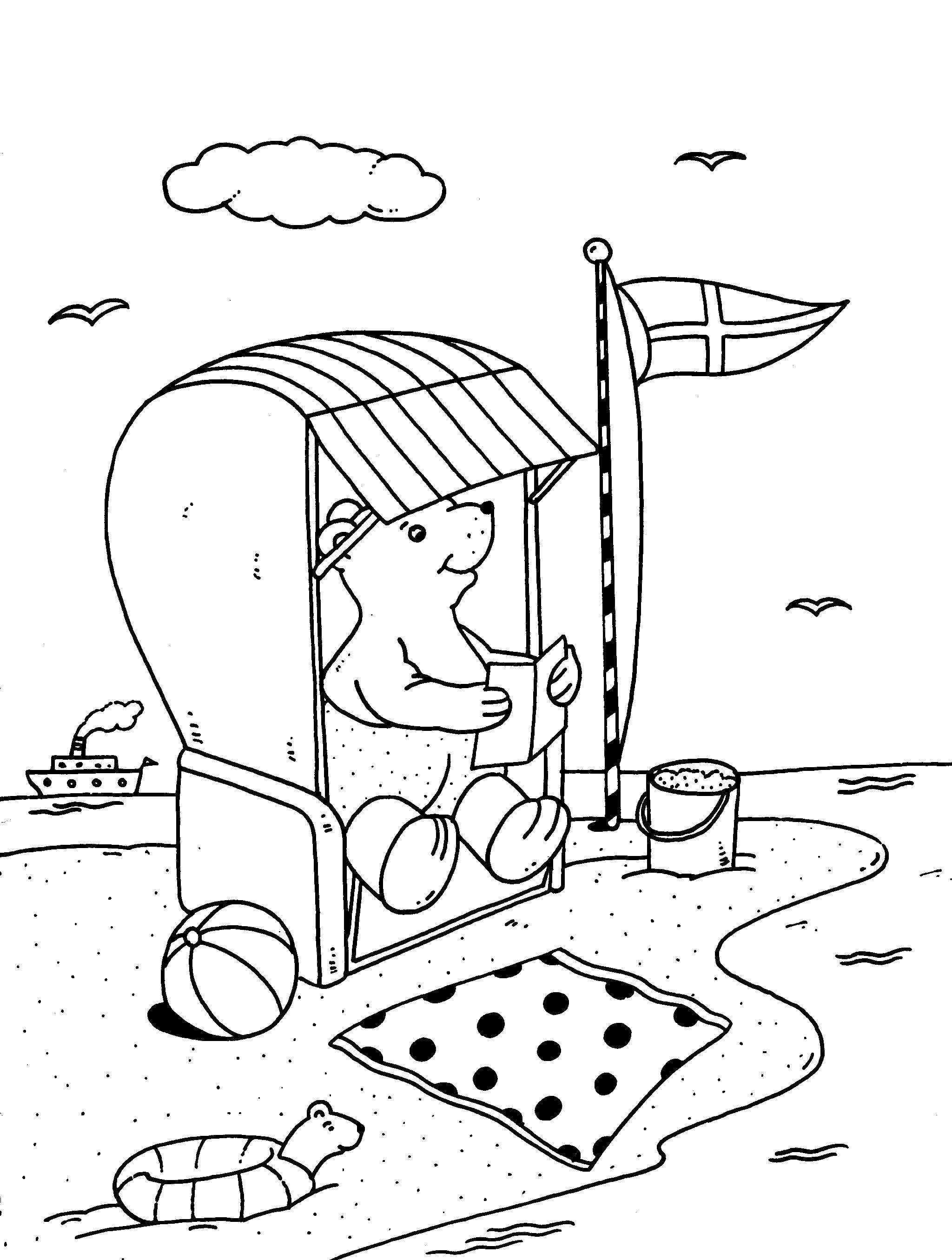 Strandkorb malvorlage  Ausmalbild Urlaub und Reisen: Bär im Strandkorb kostenlos ausdrucken