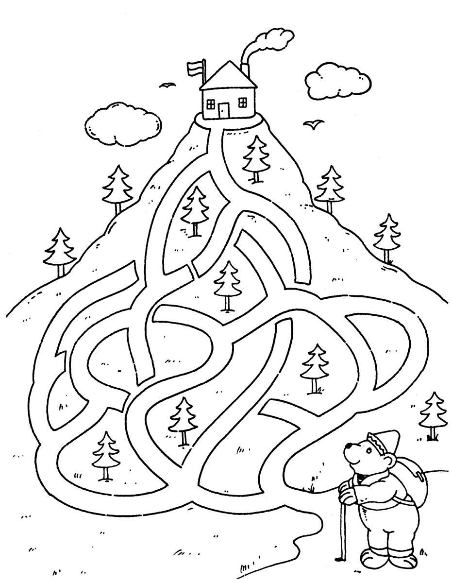Ausmalbild Urlaub Und Reisen Aufstieg Zur Berghütte Kostenlos