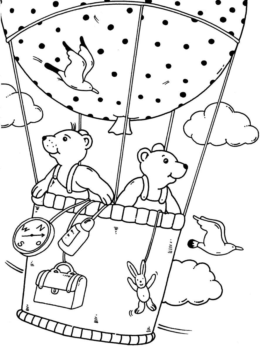 Ausmalbild Urlaub und Reisen: Ausflug im Fesselballon kostenlos ...