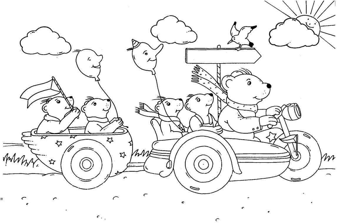 Ausmalbild Urlaub und Reisen: Bärenfamilie auf Urlaubsfahrt ...