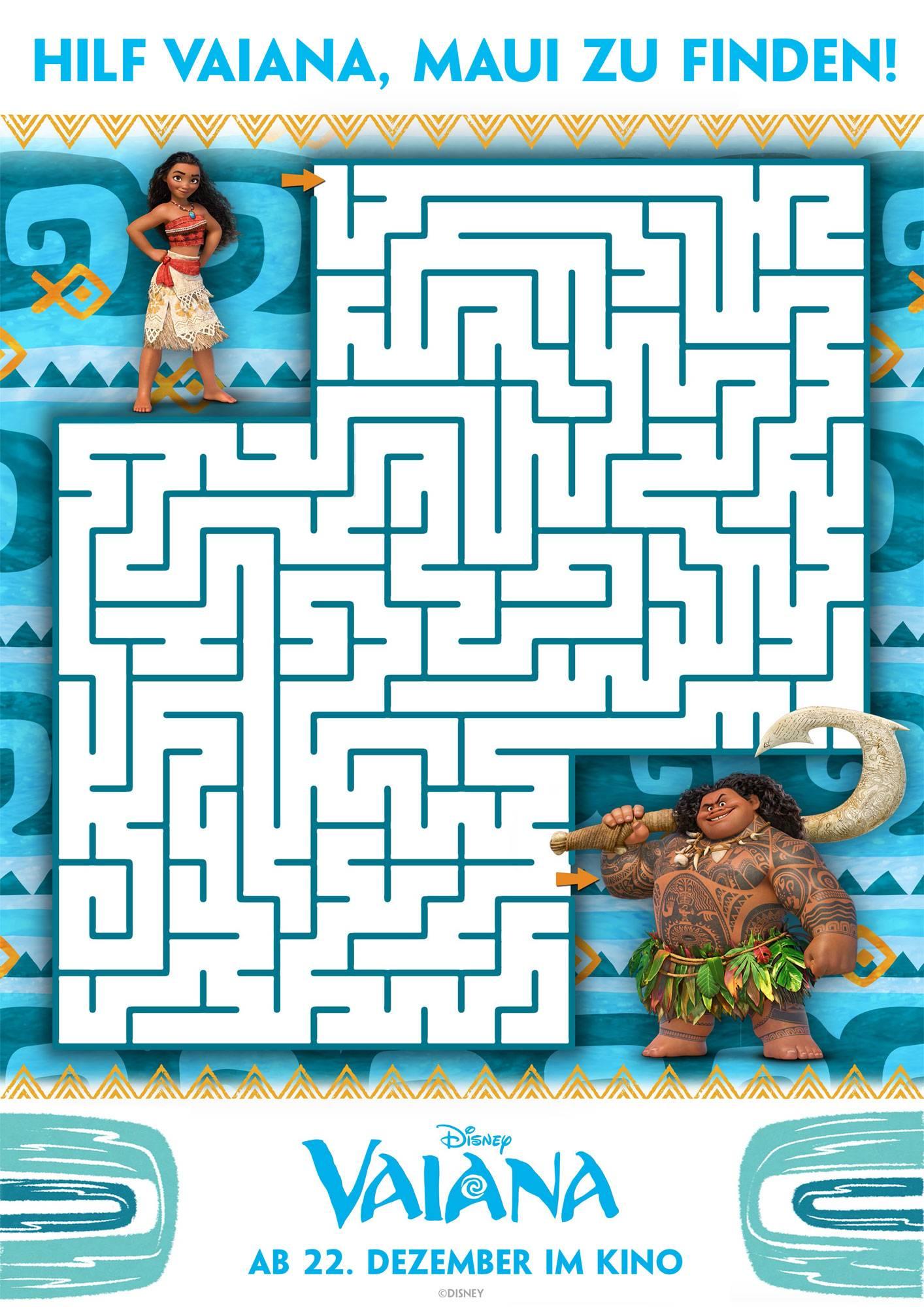 Ausmalbild Labyrinthe Für Kinder Labyrinth Vaiana Kostenlos Ausdrucken