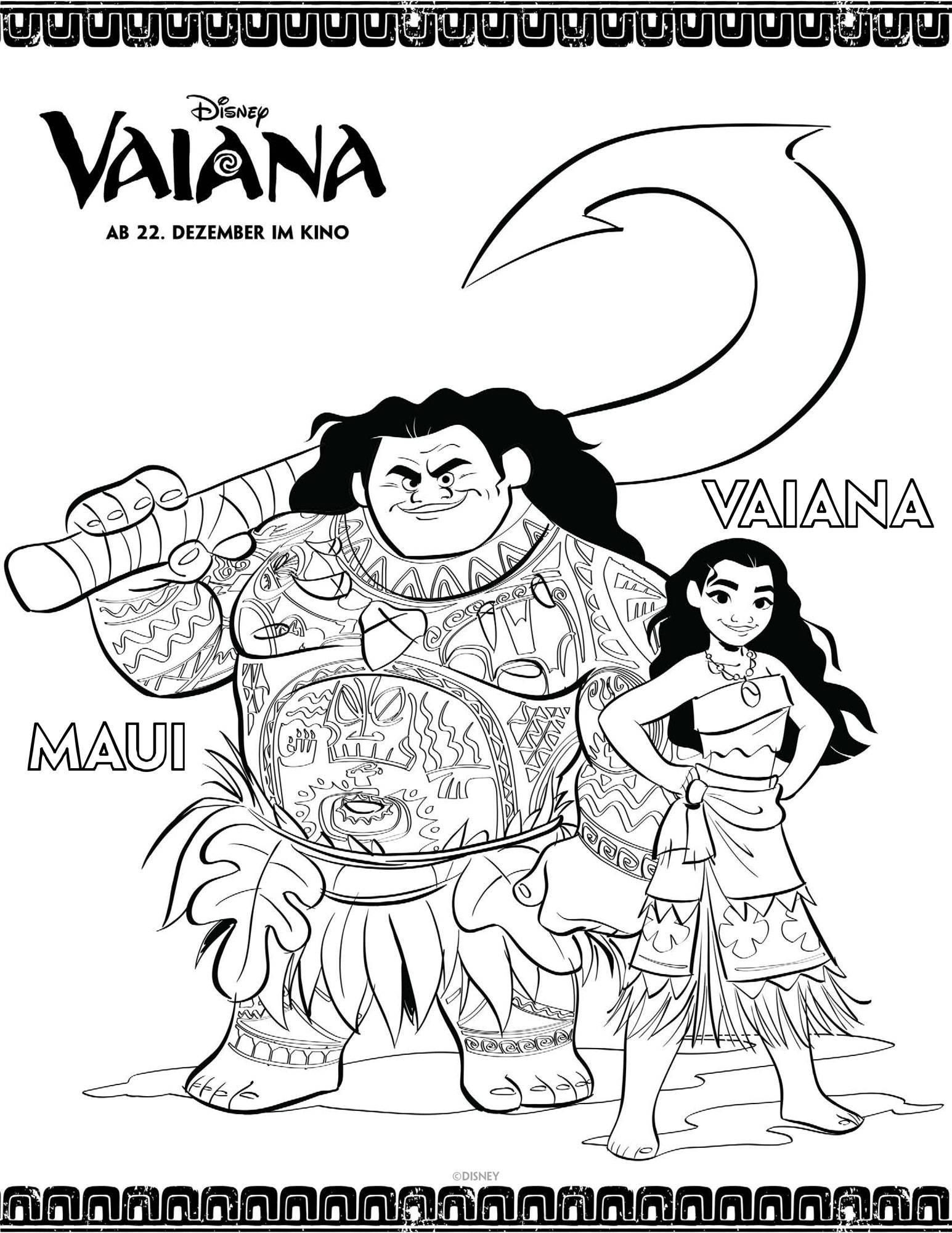 Ausmalbild Vaiana Vaiana Und Maui Ausmalen Kostenlos Ausdrucken