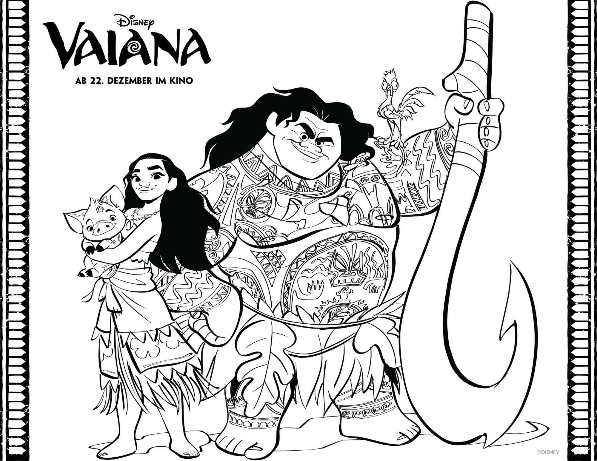 Kostenlose Malvorlage Vaiana: Malvorlage: Vaiana und Maui ...
