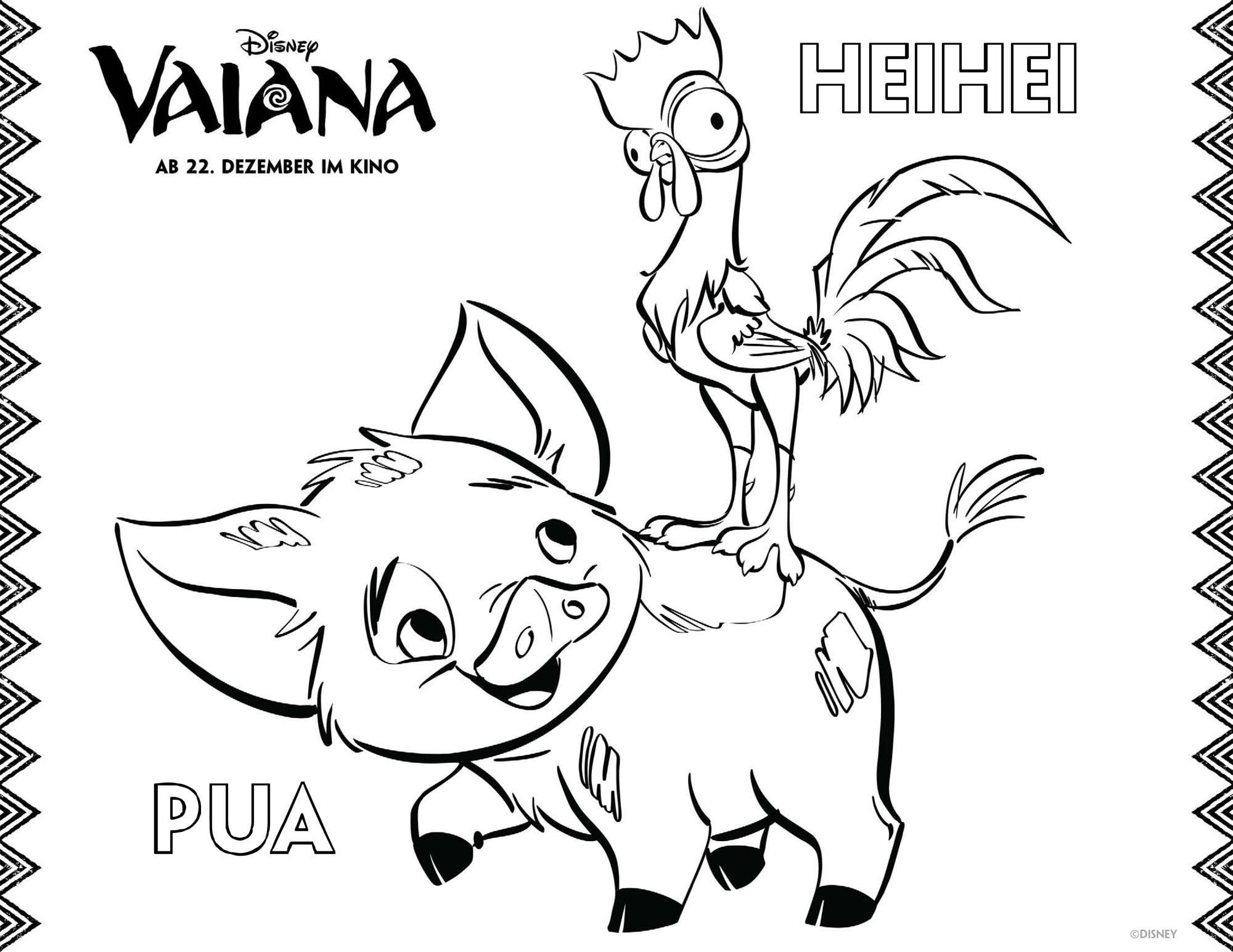 Ausmalbild Vaiana: Pua und Heihei ausmalen kostenlos ausdrucken